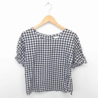 【中古】ディスコート Discoat カットソー Tシャツ チェック 透け感 綿 コットン 半袖 M 黒 白 ブラック ホワイト