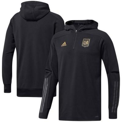"""アディダス メンズ パーカー """"LAFC"""" adidas 2020 Travel Quarter-Zip Hoodie Jacket - Black"""