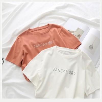 半袖Tシャツ プリントTシャツ シンプル ラウンドネック