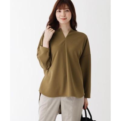 OPAQUE.CLIP / カットツイルキーネックプルオーバー WOMEN トップス > Tシャツ/カットソー