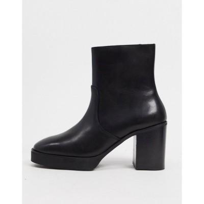 エイソス メンズ ブーツ&レインブーツ シューズ ASOS DESIGN heeled chelsea boots in black leather with black platform sole Black