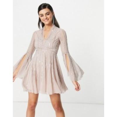 エイソス レディース ワンピース トップス ASOS DESIGN skater embellished mini with flared sleeve Pink