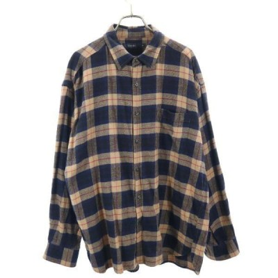 レイジブルー チェック柄 長袖 シャツ M 紺×茶 RAGEBLUE メンズ 古着 210221