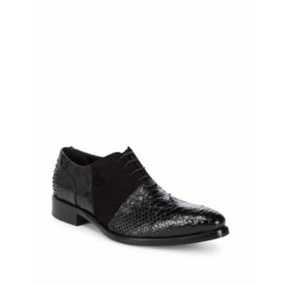 ジョーゴースト メンズ シューズ オックスフォード 革靴 Lace-Up Embossed Leather Oxfords