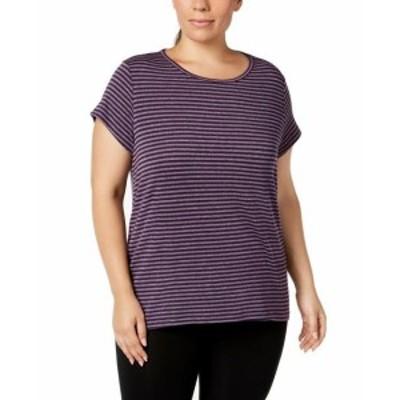 ファッション トップス Ideology NEW Purple Womens Size 3X Plus Striped Cutout Back Stretch Top