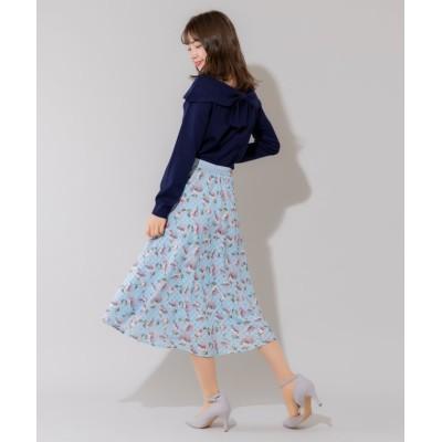 【ルゥデ】 シアーチェックフラワースカート(0R10-02145) レディース サックス M Rewde