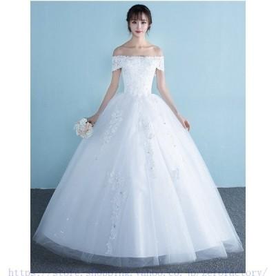 ロングドレスウェディングドレスウエディングドレス編み上げレース刺繍ドレスロングドレス花嫁ドレスベアトップビスチェ二次会
