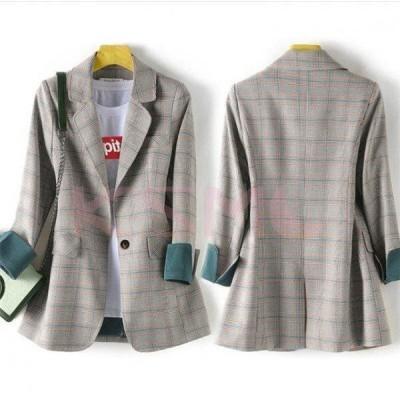 テーラードジャケット ロング レディース テーラード 長袖 ライトアウター コート フォーマル スーツ ジャケット チェック柄
