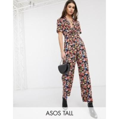 エイソス レディース ワンピース トップス ASOS DESIGN Tall twist front jumpsuit in floral print Floral print