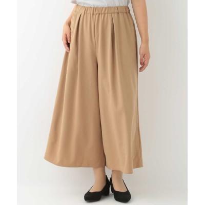 【エウルキューブ】 スカート見えワイドパンツ レディース ベージュ 15 eur3( 大きいサイズ)
