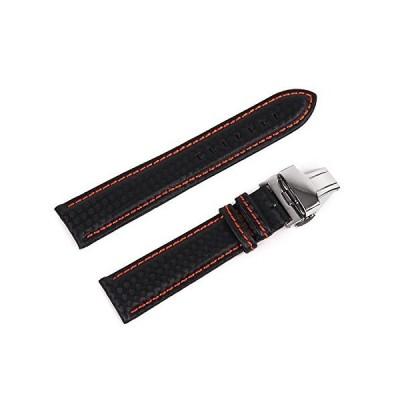 Best Master 腕時計ベルト レザー カーボン 型押し 高級Dバックル ラバーコーティング バネ棒 バネ棒外し クロス付属 黒地+橙ステッチ
