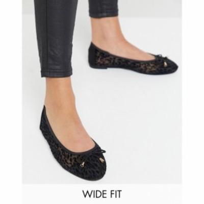 シンプリー ビー Simply Be レディース スリッポン・フラット シューズ・靴 Wide Fit Ballerina With Mesh Detail In Leopard Print ブラ