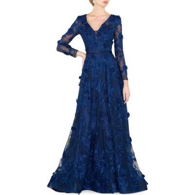マックドゥガル Mac Duggal レディース パーティードレス ワンピース・ドレス Floral Lace Gown ネイビー