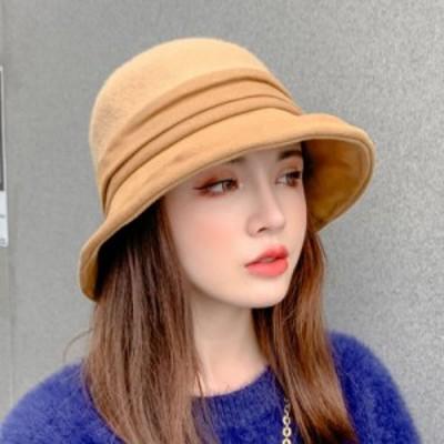 バケットハット レディース ハット 帽子  つば広帽  折り畳み 無地 かわいい レディース 暖かい 厚 秋冬