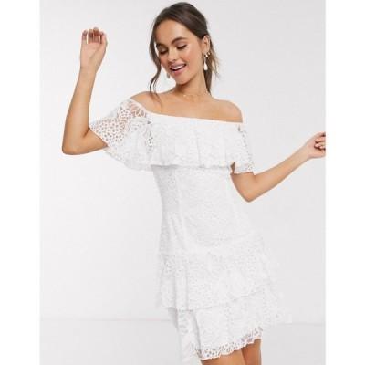 リトル ミストレス Little Mistress レディース ワンピース ミニ丈 ワンピース・ドレス Lace Ruffle Mini Dress In White ホワイト