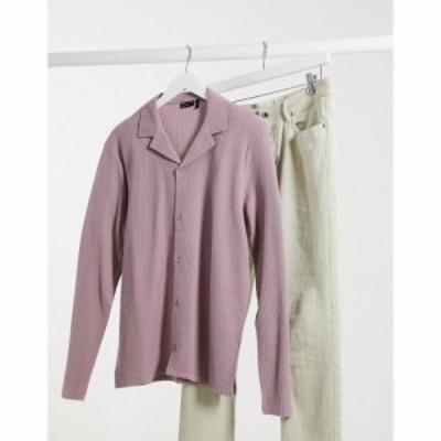 エイソス ASOS DESIGN メンズ シャツ トップス long sleeve waffle jersey shirt in light washed purple