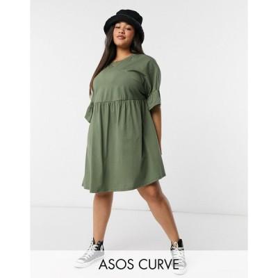 エイソス ドレス 大きいサイズ レディース ASOS DESIGN Curve super oversized frill sleeve smock in khaki エイソス ASOS カーキ