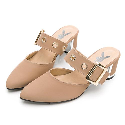 【生日慶↘直降千元】PLAYBOY -玩美小時光 氣質高冷韓系穆勒鞋-粉(YD7315)