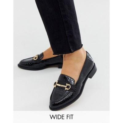 エイソス レディース サンダル シューズ ASOS DESIGN Wide Fit Vapor snaffle loafer in black Black croc