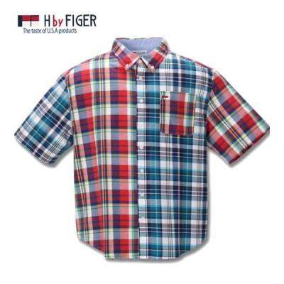 大きいサイズ メンズ H by FIGER マドラスチェック半袖B.Dシャツ 3L 4L 5L 6L 8L