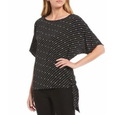 マイケルコース レディース Tシャツ トップス MICHAEL Michael Kors Bias Stripe Logo Print Knit Jersey Side-Tie Top Black/White