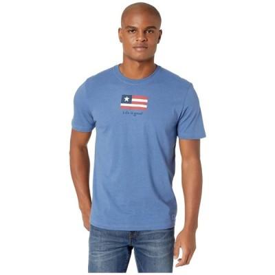 ライフイズグッド Life is Good メンズ Tシャツ トップス Three Stripe Flag Vintage Crusher Tee Heather Vintage Blue