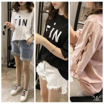 送料無料 Tシャツ 半袖 袖編み上げ大きいサイズ 英字プリント ロゴプリント LL~4L ホワイト ブラック ピンク レディース