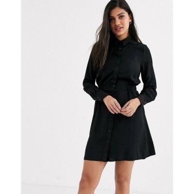 ニュールック レディース ワンピース トップス New Look gather waist shirt mini dress in black Black