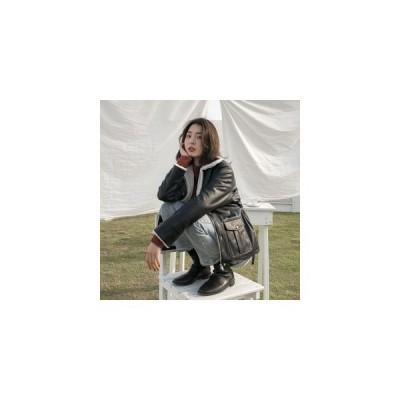 PU レザー コート レディース ジャケット ショート 裏ボア 秋冬 折り襟 フライトジャケット ライダース 暖かい 防寒着 ふわふわ 保温 おしゃ