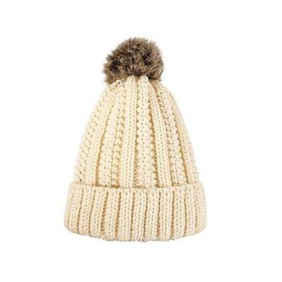Iusun Women Winter Warm Knit Crochet Beanie Beanie Hat with Pom Pom Ball Metal Circle Hemming Hairball Headgear Windproof Fashion Slouchy Ca
