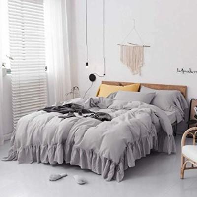 【送料無料】アンティーク風 無地 ライグレーの掛け布団カバー フリルの枕カバー2枚 コットン寝具カバー (シングル, グレー)