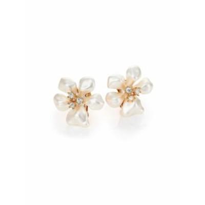 ケネスジェイレーン レディース イヤリング ピアス Faux Pearl &amp Crystal Flower Clip-On Earrings