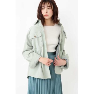 JILLSTUART ◆モリースエードシャツジャケット グリーン FR