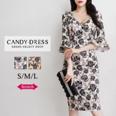 【予約】S/M/L 送料無料 Luxury Dress ストレッチジャガード×フラワープリントベルスリーブ七分袖タイトミディドレス GB201003 韓国製