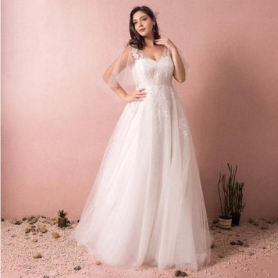 新作【Aライン】ロングドレス/ウェディングドレス/ウエディングドレス/高品質/大きいサイズ/フレア袖/編み上げタイプ/【ホワイト】【2XL〜7XLサイズ】fh50