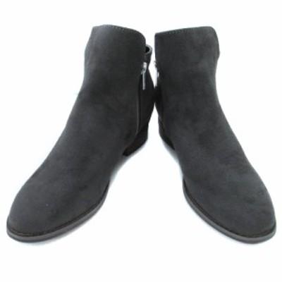 【中古】セベージュ C'ast vague ブーツ ショート ラウンドトゥ ローヒール 36 ダークグレー /FF41 レディース