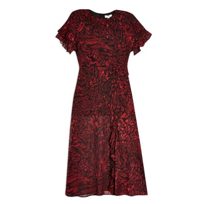 トップショップ TOPSHOP ロングワンピース&ドレス レッド 8 ポリエステル 100% ロングワンピース&ドレス