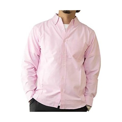 [ ビッグラフ ] シャツ カジュアル y ビジネス トップス 襟 付き ボタン ダウン オックスフォード カラー 長袖 メンズ (ピンク L)