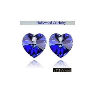 ピアス ロイヤル ブルー ハート ピアス|ダイヤモンド アクセント|ハリウッド セレブ コレクション