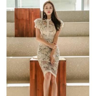 ワンピースドレス 膝丈 韓国 ファッション 花柄 シースルー ハイウエスト フリル タイト きれいめ セクシー 半袖 お呼ばれ 二次会 通勤