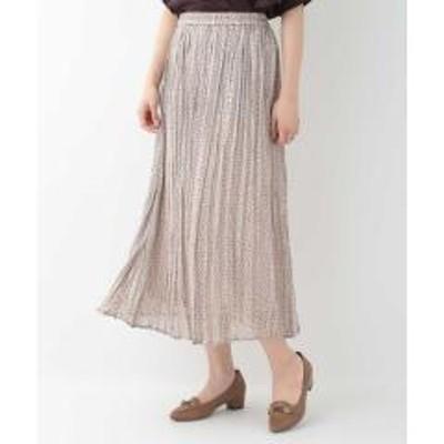 OFUON(オフオン)【洗える】ラメストライプドットスカート【お取り寄せ商品】