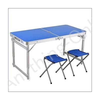 ★新品★Rnwen Portable Folding Table Folding Table with 2 Chairs Set - Adjustable Height Aluminum Deformation Table for Indoor and Outdoor Use Out