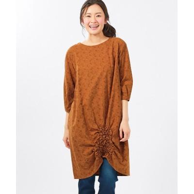 大きいサイズ 綿混7分袖ジャガードシャーリングチュニック(オトナスマイル) ,スマイルランド, plus size tops,