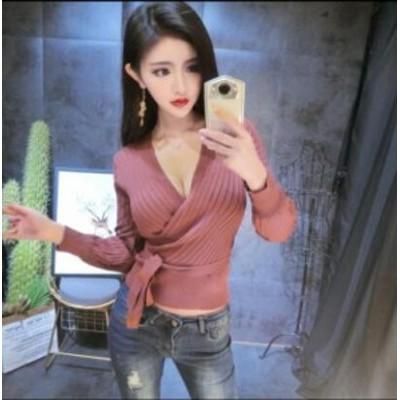 二点送料無料 レディース セクシー 気質 トップス ファッション 夜店 長袖ボトム 女子 Vネック ニットトップ  胸元 スリムTシャツ
