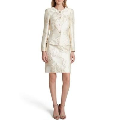 タハリエーエスエル  レディース ワンピース トップス Long Sleeve Floral Metallic Jacquard Peplum Jacket 2-Piece Skirt Suit