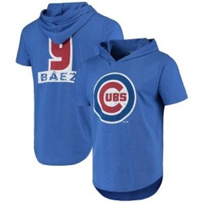 マジェスティック メンズ Tシャツ トップス Javier Baez Chicago Cubs Majestic Threads Softhand Short Sleeve Player Hoodie T-Shirt R