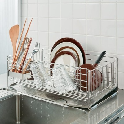 キッチン 家電 キッチン収納 水切り 水切りかご ラック 使いやすくなったシンクいっぱい水切り ワイドハイタイプ H04354