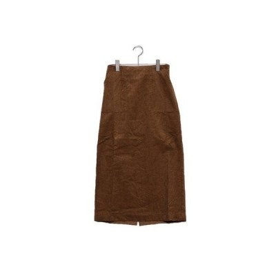 ユアーズ ur's ウエストバックゴムコーデュロイタイトスカート (ブラウン)