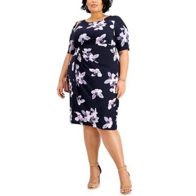 コネクテッド ワンピース トップス レディース Plus Size Floral-Print Side-Ruched Sheath Dress Navy/Lavender