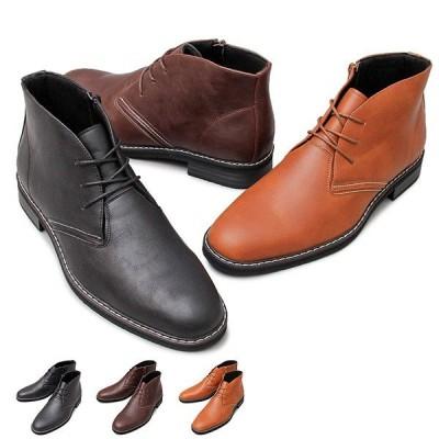 ブーツ チャッカブーツ ショートブーツ レースアップ スエード調 フェイクレザー 合皮 ショート丈 靴 シューズ メンズ